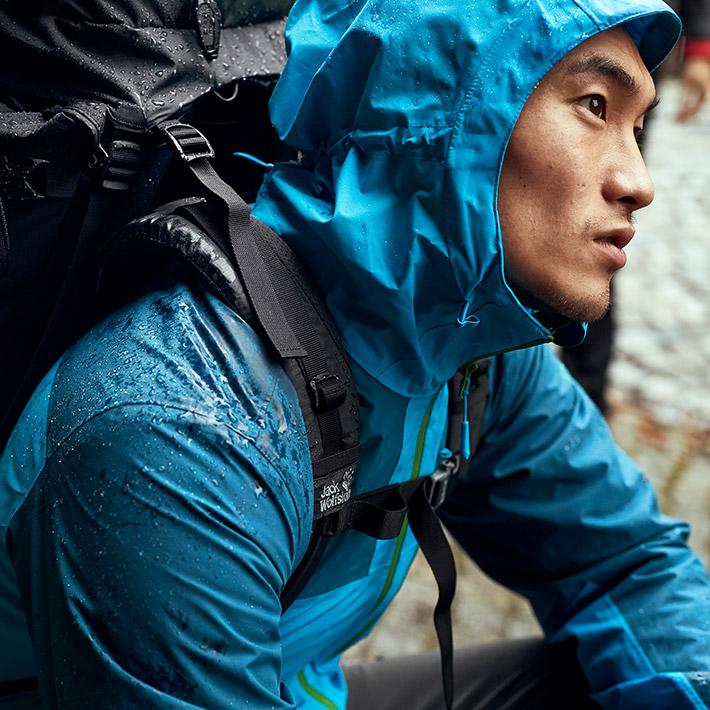 Man with rain jacket